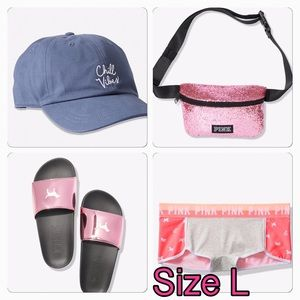 VS PINK GLITTER BELT BAG, SLIDES, HAT, BOYSHORT L